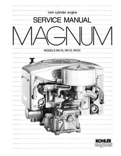 Kohler Magnum MV16 MV18 MV20 Twin Cylinder Engine Workshop