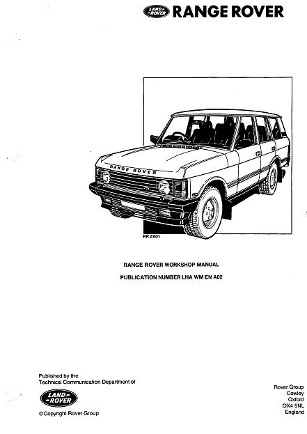 LAND ROVER RANGE ROVER 1986-1996, SERVICE, REPAIR MANUAL