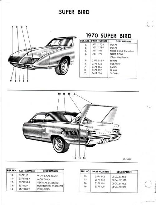 CHRYSLER PLYMOUTH 1970 SUPERBIRD PARTS CATALOGUE