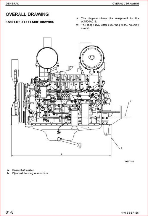 Komatsu 140-3 series diesel engine shop manual. SA6D140E-3