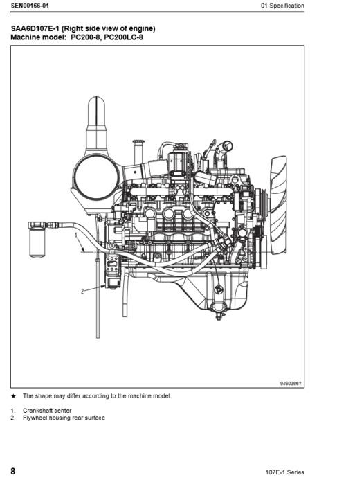 Komatsu 107E-1 series engine shop manual. Model SAA6D107E