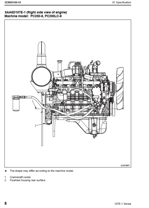 Komatsu 107E-1 engine shop manual. Model SAA6D107E-1