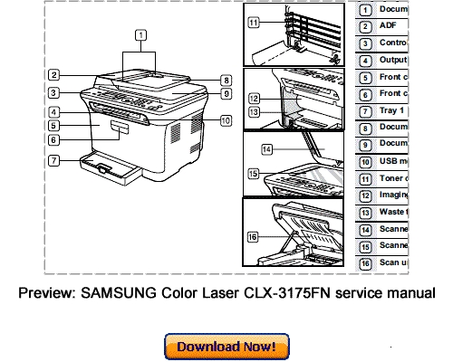 SAMSUNG CLX-3170 CLX-3175 Service Repair Manual Download