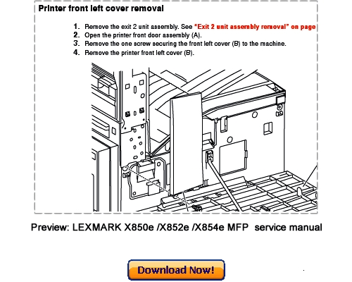 LEXMARK X850e X852e X854e MFP Service Repair Manual