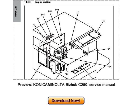 KONICA MINOLTA bizhub C250 Service Repair Manual Download