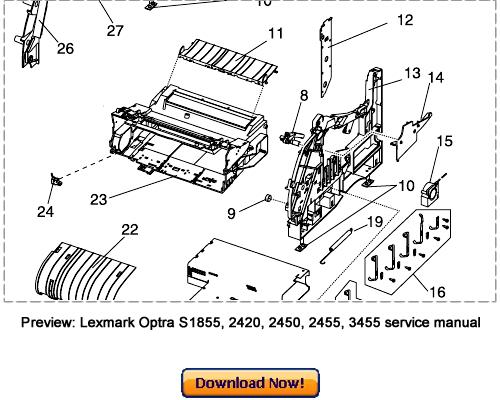 LEXMARK Optra S 1620 1625 1650 1855 1855 Service Repair