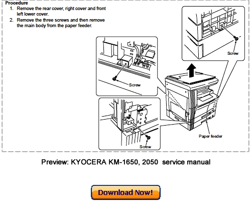 KYOCERA MITA KM-1650, KM-2050 Service Repair Manual