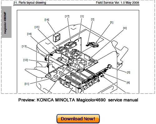 Free Konica Minolta PagePro 1300W Series Parts Manual