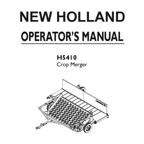 New Holland H5410 Crop Merger Operator Owner User Manual