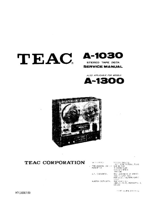 TEAC A-1030 / 1300 STEREO TAPE DECK SERVICE MANUAL