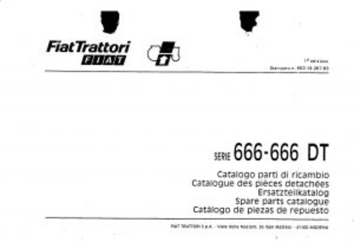 Fiat 666-666DT Service Parts Catalog Tractor Manual PDF