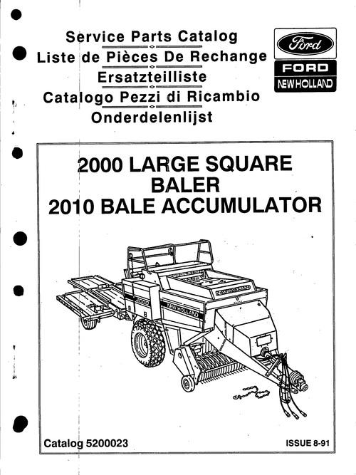 Ford New Holland 2000 Big Baler Service Parts Catalog PDF
