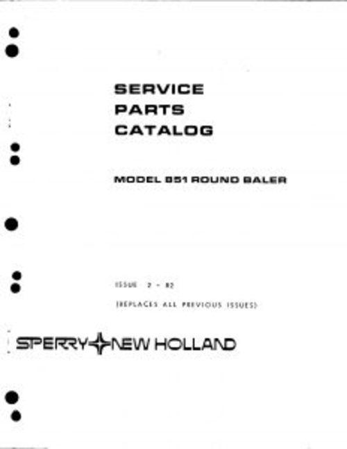 New Holland 851 Round Baler Service Parts Catalog PDF