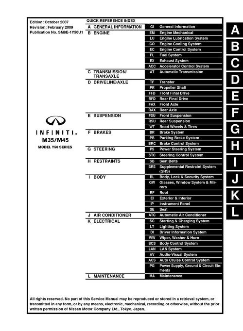 Nissan Infiniti M45 M35 Service Manual for 2003-2007