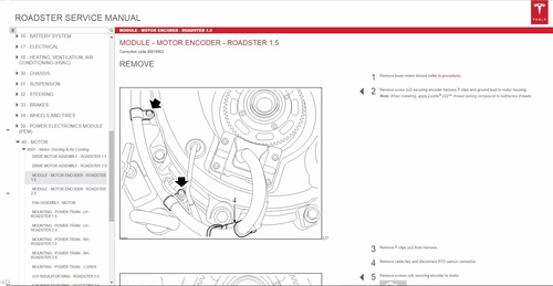 Tesla Roadster Service Manual Wiring Diagrams Parts