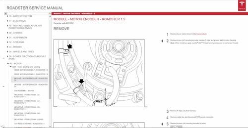 Tesla Roadster Service Manual Wiring Diagrams Parts