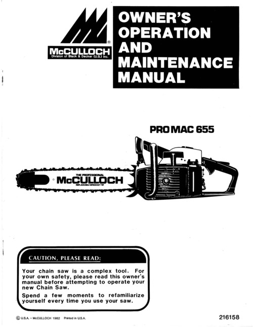 McCulloch PRO MAC 655 Chain Saw Owners & Operators Manual