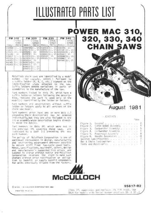 McCulloch Power Mac 310, 320, 330, 340 Owners, Repair