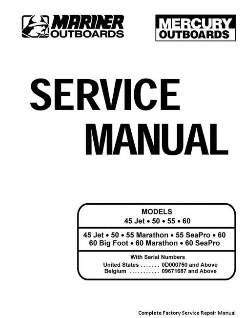 Mercury Mariner 45 Jet 50 55 60 Service Manual 2 Stroke