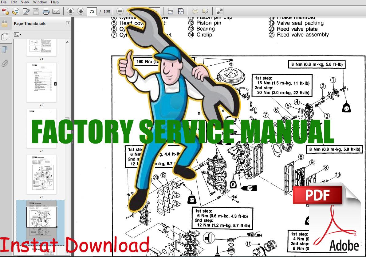 hight resolution of mercury 4 stroke service repair manual 25 big foot