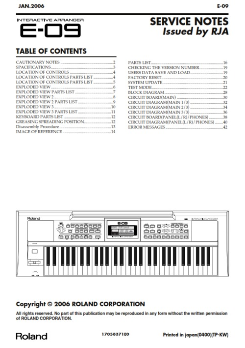 Roland boss e-09 e09 arranger complete service manual