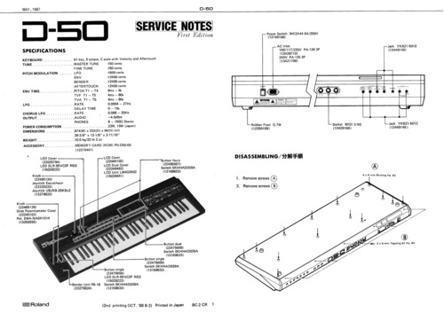 Roland d50 d-50 d 50 synthesizer complete service manual
