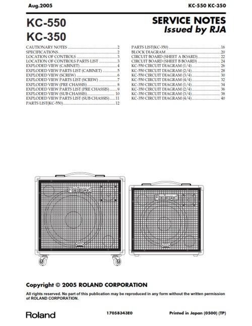 Roland kc350 kc550 kc-350 kc-550 kc complete service