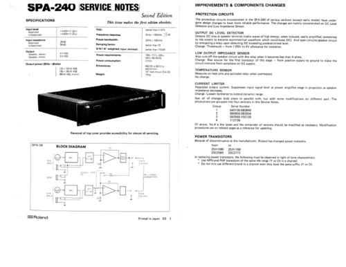 Roland spa240 spa-240 spa 240 complete service repair