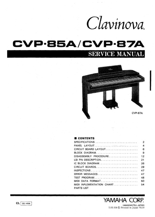 Yamaha cvp-85 cvp-87 cvp85a cvp87a complete service manual
