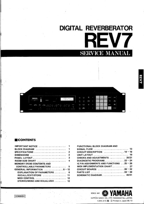 Yamaha rev7 rev-7 digital reverberator full service manual