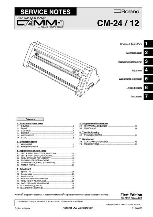 Roland cm24 cm-24 cm12 cm-12 camm-1 camm1 service manual