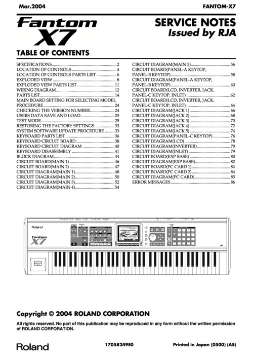 Free Roland x6 x-6 fantom complete service manual X6