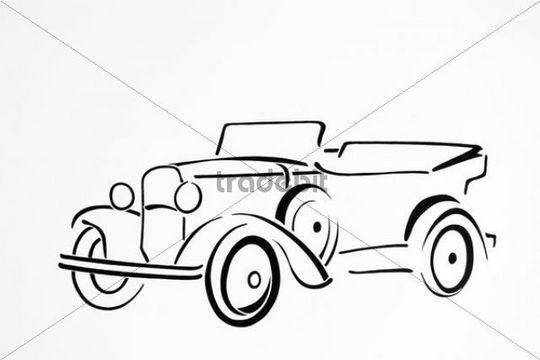 Vintage car, drawing, artist Gerhard Kraus, Kriftel