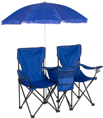 double adirondack chairs with umbrella zero g garden chair folding camp and beach removable cooler by trademark innovations ...