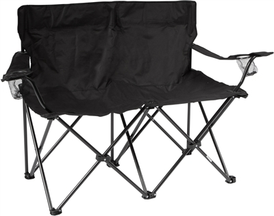 double seat folding chair thinking blues clues loveseat style camp with steel frame by trademark innovations black 31 5 h