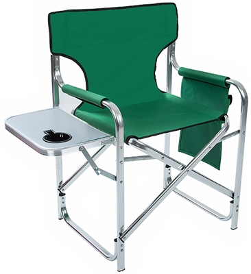 portable directors chair 2 oak office aluminum and canvas folding director's with side table by trademark innovations (green, 31 ...
