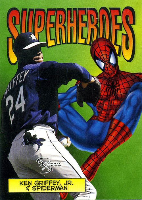 1998 Skybox Dugout Axcess Baseball Superheroes 3. Ken Griffey Jr. and Spider-Man