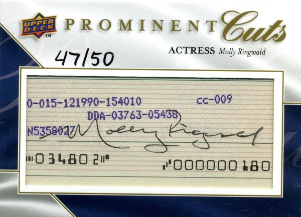 2009 Upper Deck Prominent Cuts Molly Ringwald Cut Signature