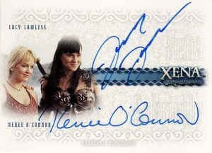 2002 Xena Beauty and Brawn Dual Autographs DA1 Lucy Lawless Rene OConnor
