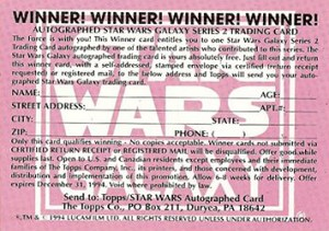 1994 Topps Star Wars Galaxy Series 2 Autograph Redemption