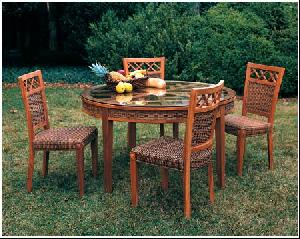banana leaf dining room chairs best lumbar support cushion for office chair abaca round table and combined with mahogany frame