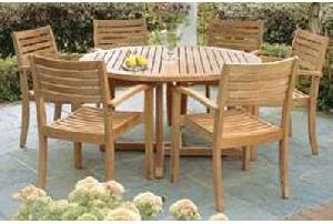 teak table and chairs garden chair covers for plastic folding butterfly round new stacking dining outdoor furniture