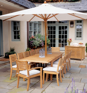 teak table and chairs garden dark green recliner chair complete set umbrella buffet outdoor furniture