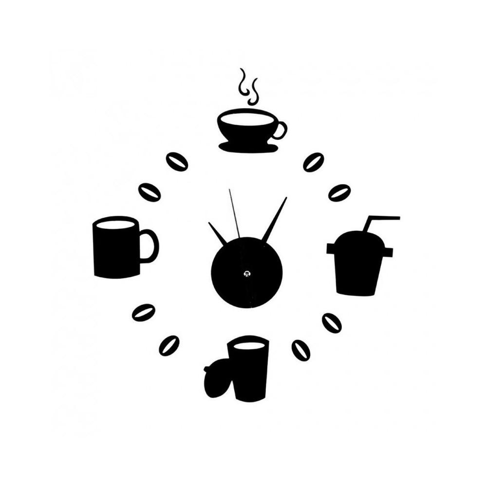 Intendevi orologio da parete moderne. Orologio Da Parete Adesivo Nero Tazze Caffe Design Moderno Casa Ufficio Cucina