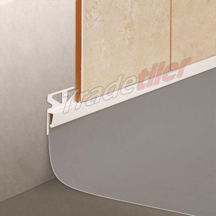 dural wall tile to vinyl skirting tile trim white