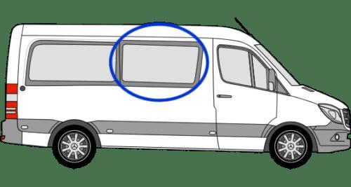 Mercedes Sprinter O/S/F Sliding Window in Privacy Tint MWB