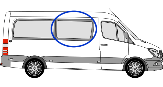 Volkswagen Crafter O/S/F Sliding Window in Privacy Tint