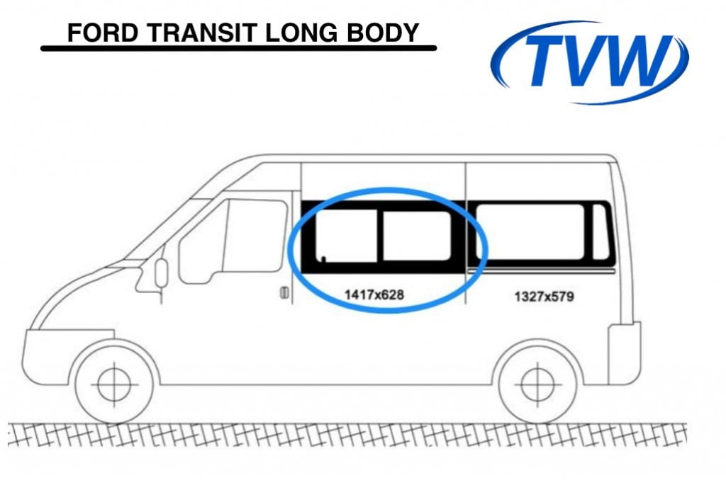Ford Transit N/S/F Opening Window in Privacy Tint (LWB