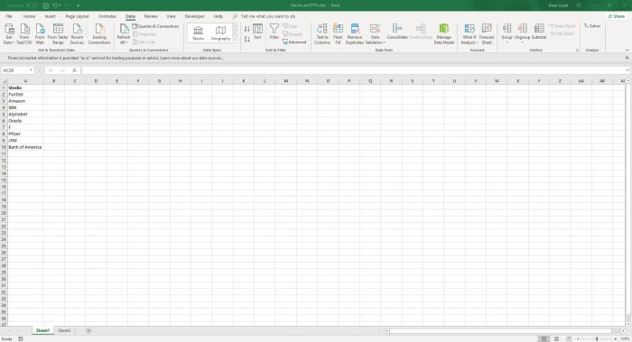 Type the name or ticker of the stocks you want - Live Stock Data Excel 365