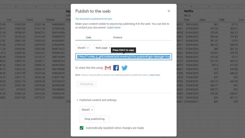 Step 2 - Publish to the web